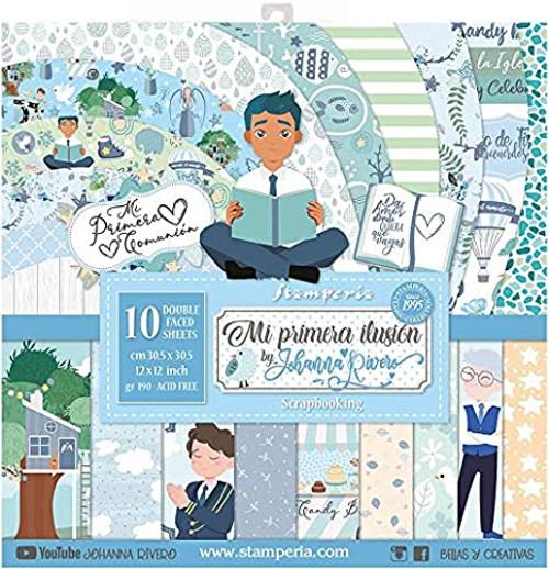 """Stamperia Mi Primera Ilusion Nino 12"""" x 12"""" Paper Collection"""