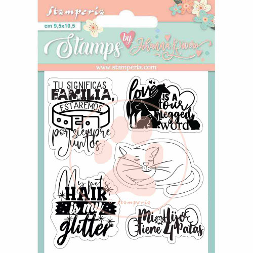 Stamperia Circle of Love Cats and Labels Stamp