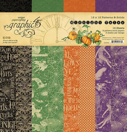 "Graphic 45 Midnight Tales 12"" x 12""  Solids & Patterns Pad"