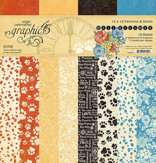 """Graphic 45 Well Groomed 12"""" x 12""""  Solids & Patterns Pad"""