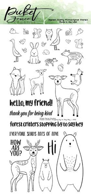Picket Fence Studios 4 x 8 Forest Critters Stopping By To Say Hey Stamp Set