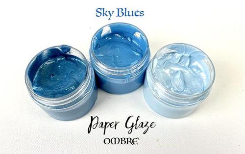 Picket Fence Studios Paper Glaze Ombre 3 Pack Sky Blues