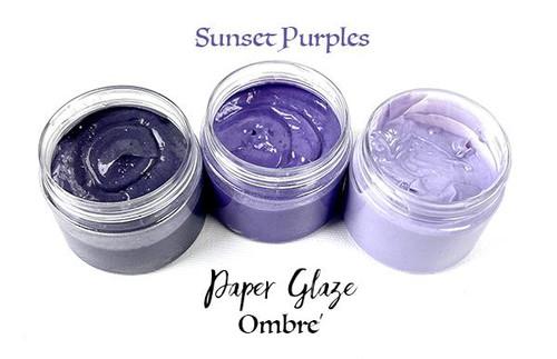 Picket Fence Studios Paper Glaze Ombre 3 Pack Sunset Purples