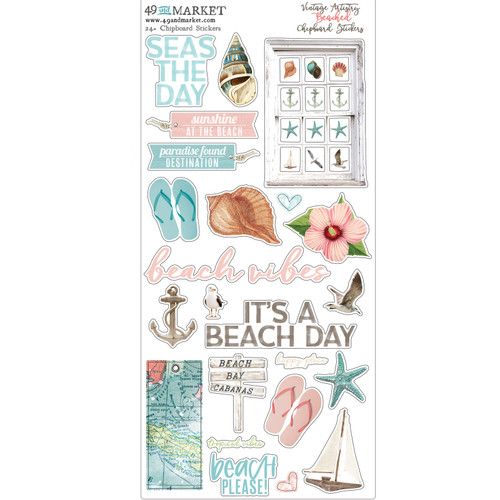 49 and Market Vintage Artistry Beached Chipboard Stickers