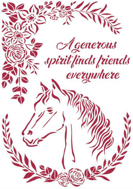 Stamperia Romantic Horses Horse With Flowers  Stencil