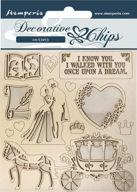 Stamperia Decorative Chips  - Sleeping Beauty Coach