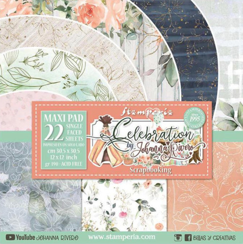 """Stamperia Celebration Paper Pack 22 sheets (12""""x12"""") Single Face"""