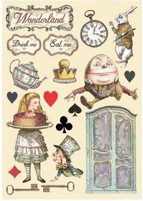Stamperia Colored Wooden Shapes A5 - Alice Cake