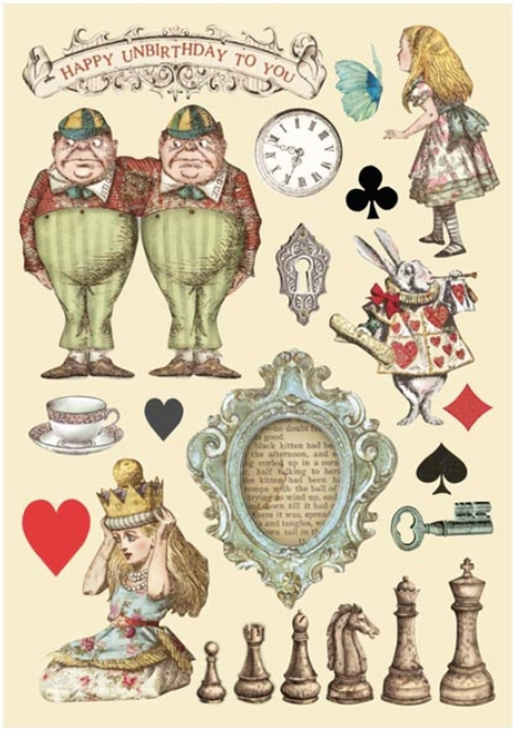 Stamperia Colored Wooden Shapes A5 - Alice Chessboard