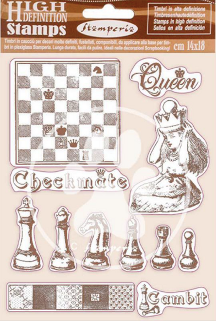Stamperia HD Natural Rubber Stamp  - Alice Checkmate