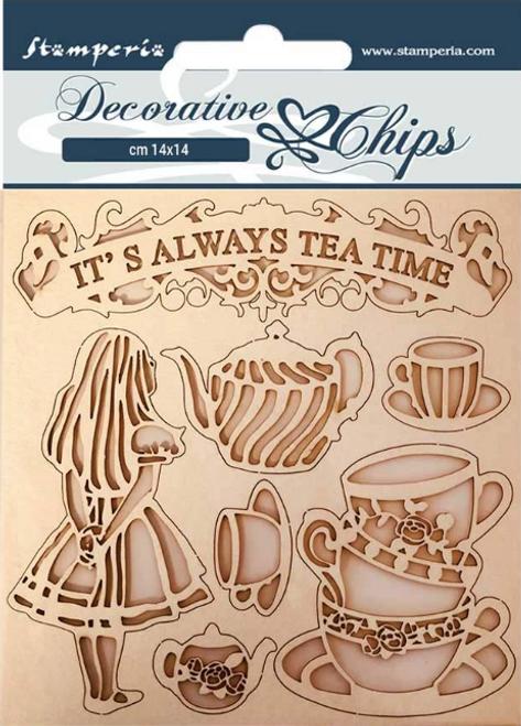Stamperia Decorative Chips  - Alice Tea Time