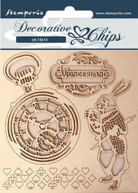 Stamperia Decorative Chips  - Alice In Wonderland