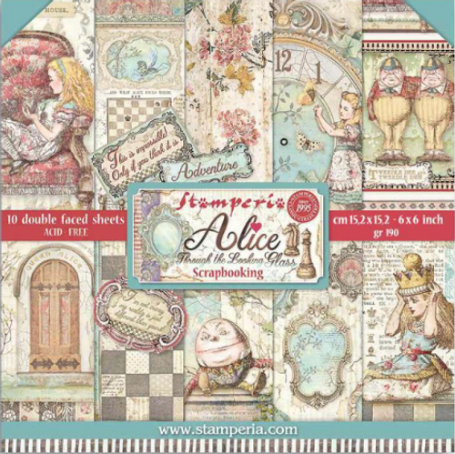 Stamperia Double Face 6''x6'' Pad - Alice Through The Looking Glass