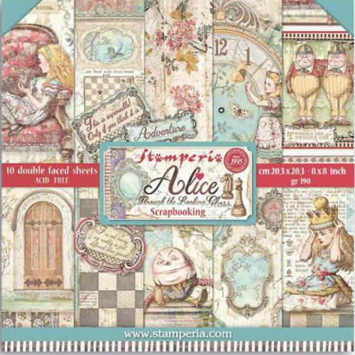 """Stamperia Alice Through The Looking Glass 8"""" x 8"""" Paper Collection"""