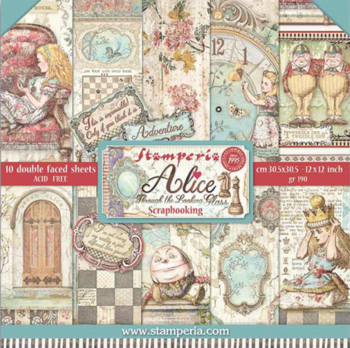 """Stamperia (12""""x12"""") Double Face Paper Pack - Alice Through The Looking Glass"""