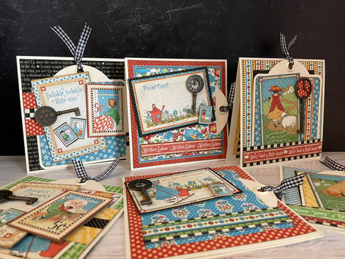 Graphic 45 Mother Goose Square Tag & Metal Clock Key Card Set 2021 Monthly Card Kit Volume 7