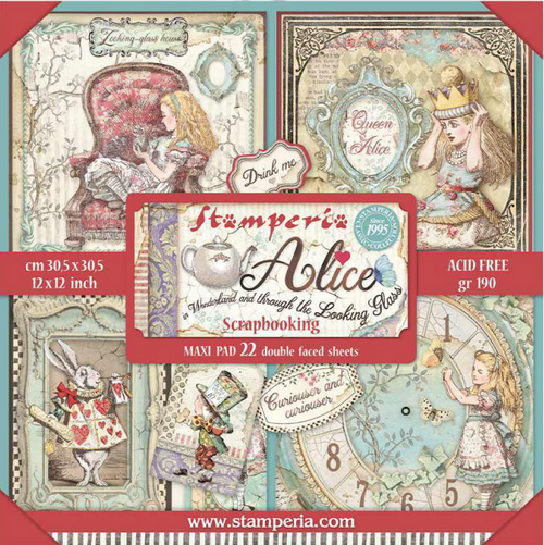"""Stamperia Alice In Wonderland & Through The Looking Glass Paper Pack - 22 sheets (12""""x12"""") Double Faced Sheets"""