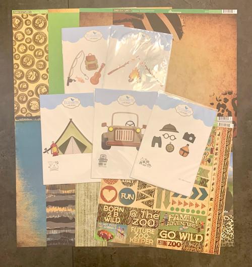 BUNDLE: Elizabeth Craft Safari/Camping Dies (5) + Reminisce 12 x 12 Zooventures Kit and 12 x 12 Die Cut Sticker Sheet