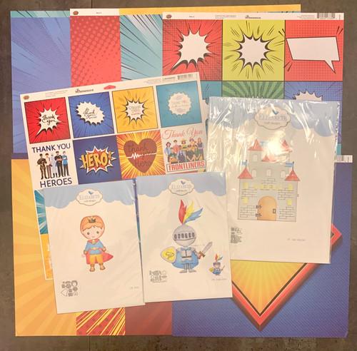 BUNDLE: Elizabeth Craft Prince/Knight Dies (3) + Reminisce 12 x 12 Hero Kit and 12 x 12 Die Cut Sticker Sheet