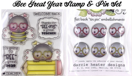 Darcie's Heart & Home Bee Great Year Stamp & Pin Set