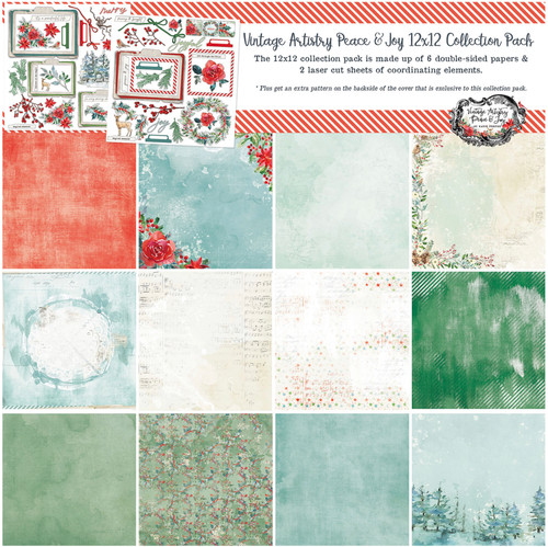 """49 and Market Vintage Artistry Peace & Joy 12"""" x 12"""" Collection Pack"""