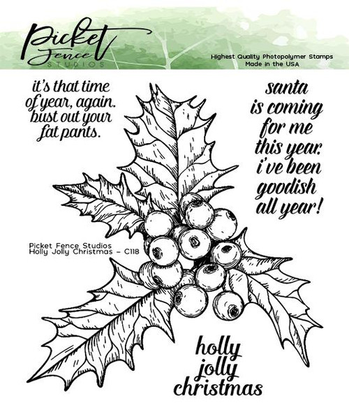 Picket Fence Studios Holly Jolly Christmas Stamp Set