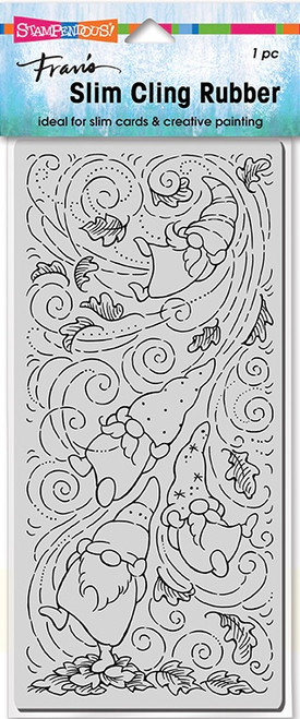 Stampendous Slim Line Autumn Gnomes Cling Rubber Stamp