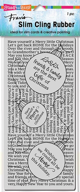 Stampendous Slim Line Ornament Text Cling Rubber Stamp
