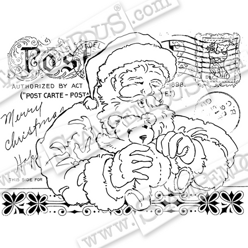 Stampendous Santas Teddy Cling Rubber Stamp