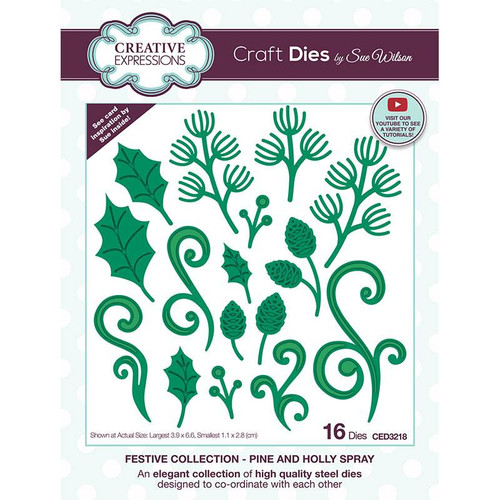 Creative Expressions Pine and Holly Spray Die Set