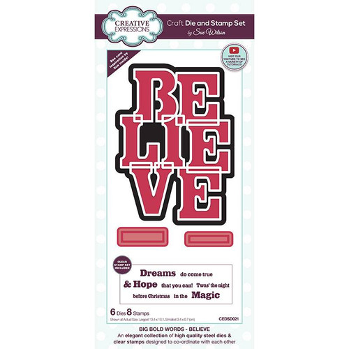 Creative Expressions Big Bold Words Believe Die and Stamp Set