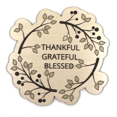Thankful Grateful Blessed Wooden Embellishment
