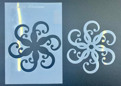 """Kaleidoscope Swirls 4"""" x 6""""  Stencil + Mask"""