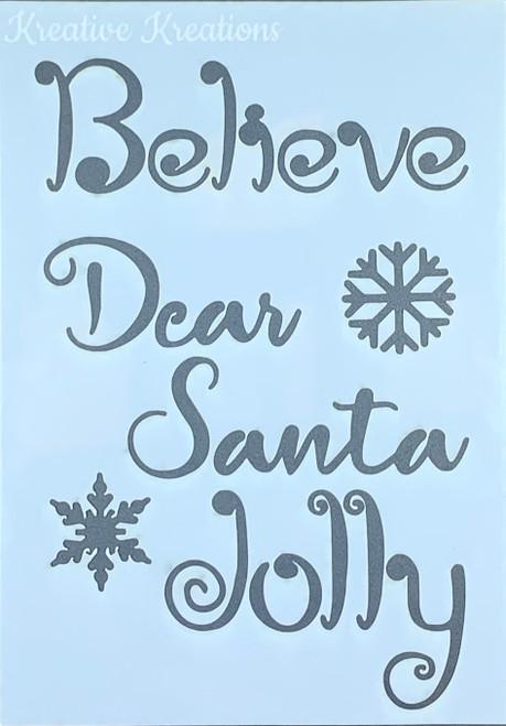 """Dear Santa 4"""" x 6""""  Stencil"""
