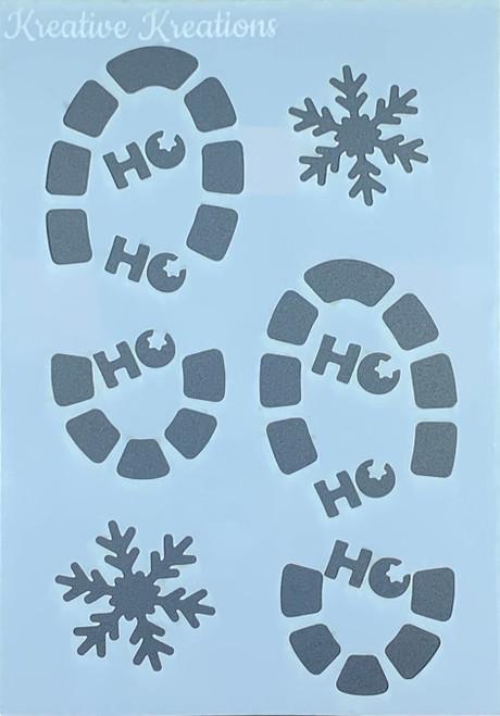 """Santa's Footprints 4"""" x 6""""  Stencil"""