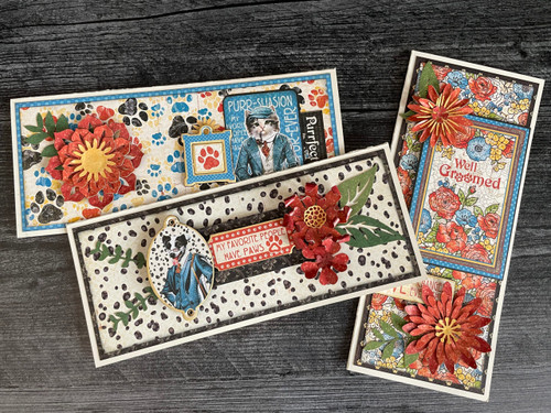 Graphic 45 Well Groomed Floral Slimline Card Set Monthly Project (Volume 9/2021)