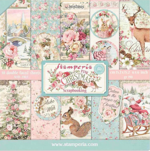 """Stamperia Pink Christmas Double Faced Paper Pack 6"""" x 6"""""""
