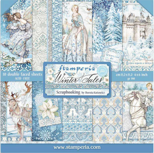 """Stamperia Winter Tales Double Faced Paper Pack 6"""" x 6"""""""