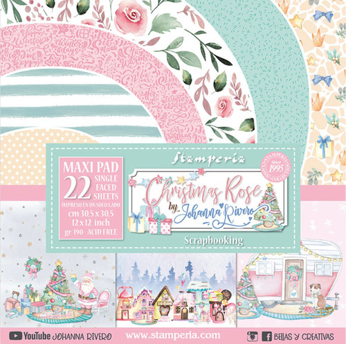 """Stamperia Christmas Rose 12"""" x 12"""" Collection Maxi Pad (22 Single Face)"""
