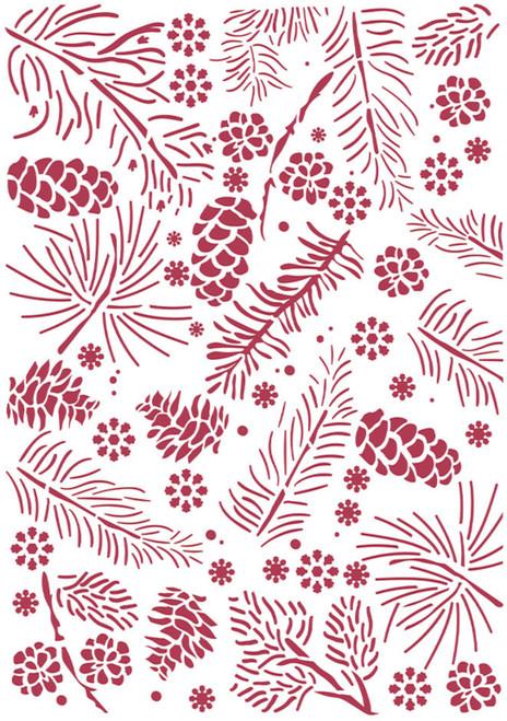 Stamperia Stencil G Romantic Christmas Pinecones