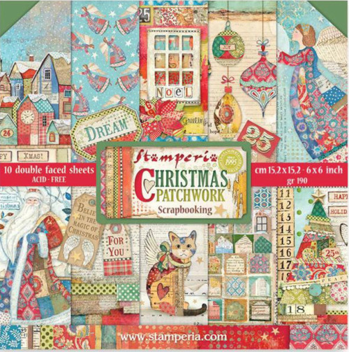 """Stamperia Christmas Patchwork Double Faced Paper Pack 6"""" x 6"""""""
