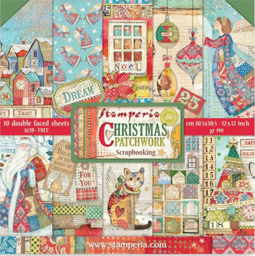"""Stamperia (12""""x12"""") Double Face Paper Pack -  Christmas Patchwork"""