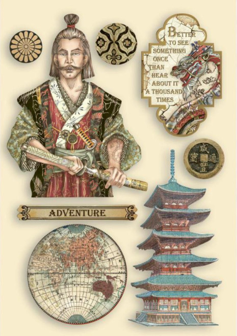 Stamperia Sir Vagabond in Japan Samurai Colored Wooden Shapes A5