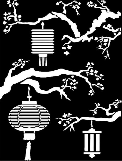 Stamperia Thick Stencil Sir Vagabond in Japan Lanterns