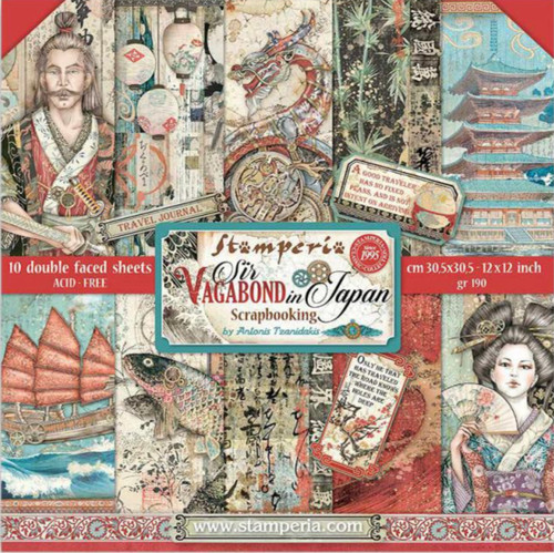 """Stamperia (12""""x12"""") Double Face Paper Pack -  Sir Vagabond in Japan"""