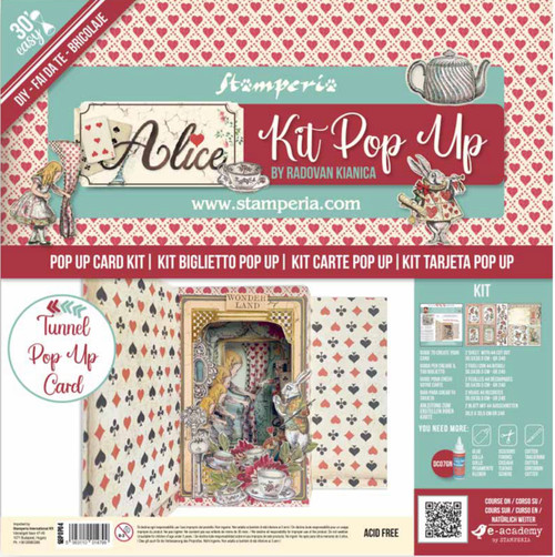 Stamperia Tunnel Pop Up Card Kit - Alice in Wonderland