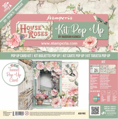 Stamperia Tunnel Pop Up Card Kit - House of Roses