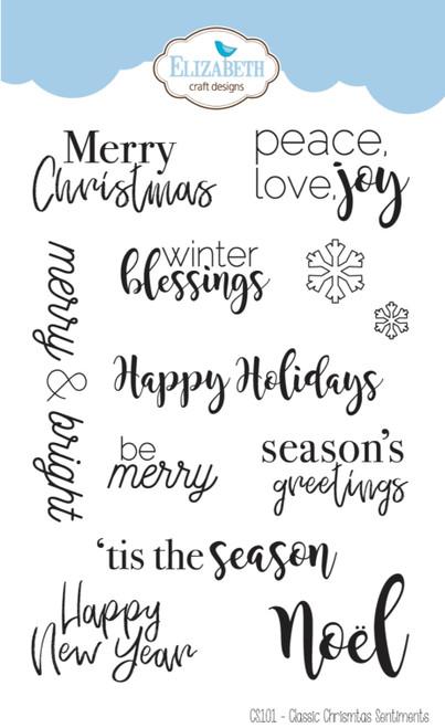 Elizabeth Craft Designs Classic Christmas Sentiments Stamp Set