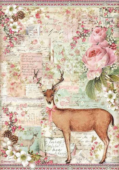 Stamperia A4 Rice Paper Pink Christmas Reindeer Flowers