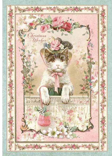 Stamperia A4 Rice Paper Pink Christmas Kitten
